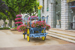 D810 36.  A floral decorated wagon in front of city hall.  Sisteron, Provence, Haute-de-Alpes, France