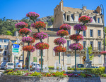 D810 37.  Flowering baskets and plantings adorn the roundabout the city center.  Sisteron, Haute-de-Alpes, Provence, France