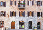 D3X 237.  Apartments above an art gallery on a street in San Gimignano.  Tuscany, Italy