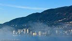 part of Vancouver from Stanley Park as the marine layer fog rolls in