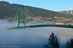 part of the Lion's Gate Bridge with marine layer fog rolling in