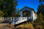 Covered bridge over Crabtree Creek in early Autumn.
