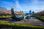 The Oregon State Capitol and a fountain