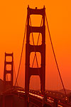 The Golden Gate Bridge at sunset from the Presidio, San Francisco, California.
