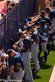 The San Diego Padres playing the Seattle Mariners at a spring training baseball game, Peoria, Arizona.