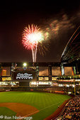 Fireworks after a game at Chase Field, home of the Arizona Diamondbacks professional baseball team, Phoenix, Arizona.