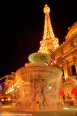 Replica of the Eiffel Tower and the Arc De Triomphe and the Paris Hotel, Las Vegas, Nevada.