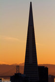 Transamerica Pyramid and Bay Bridge, San Francisco, CA