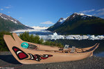 Canoes at Spencer Glacier, Chugach National Forest, Alaska.