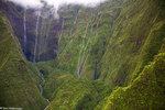 Aerial of waterfalls on Mt. Waialeale, Kauai, Hawaii.  This spot is often called The Wall of Tears of Mt. Waialeale.