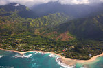 Aerial Kepuhi Beach and Tunnels Beach, Kauai, Hawaii.