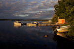 Boats and docks at a resort and outfitters on the shore of Lac La Ronge, Saskatchewan