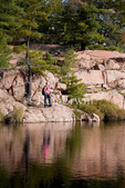 Heather Sande hiking the Cranberry Bog trail in Killarney Provincial Park, Ontario