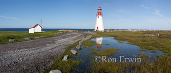 Digitally stitched panoramic of the Point Riche Lighthouse, Port au Choix National Historic Site, on the Great Northern Peninsula on the island of Newfoundland, Newfoundland and Labrador