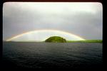 Rainbow over an island.
