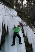 Ice climbing at Pictured Rocks National Lakeshore, MI.