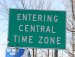 Sign at the border of the Central Time Zone.