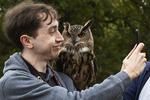 Selfie with Eurasian eagle owl