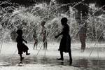 Water fountain with children