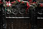 Decorated fence during Christmas holiday season