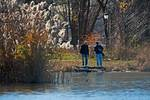 Fishing in very mild December at Prospect Park