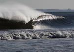 Ocean wave in late light