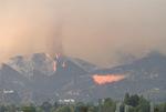 Station Fire, La Canada CA, Aug 28, 2009 San Gabriel Mountains fire plane dropping retardant
