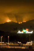 Station Fire, La Canada CA, Aug 28, 2009 San Gabriel Mountains night with Rose Bowl in foreground
