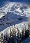 MOUNT RAINIER AND NISQUALLY GLACIER IN WINTER, From Deadhorse Creek at Paradise.
