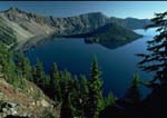 DISCOVERY POINT VIEW, West Rim with Hillman Peak and Llao Rock, Wizard Island in Crater Lake.