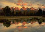 GRAND TETONS, SUNRISE REFLECTION on a Snake River backwater.